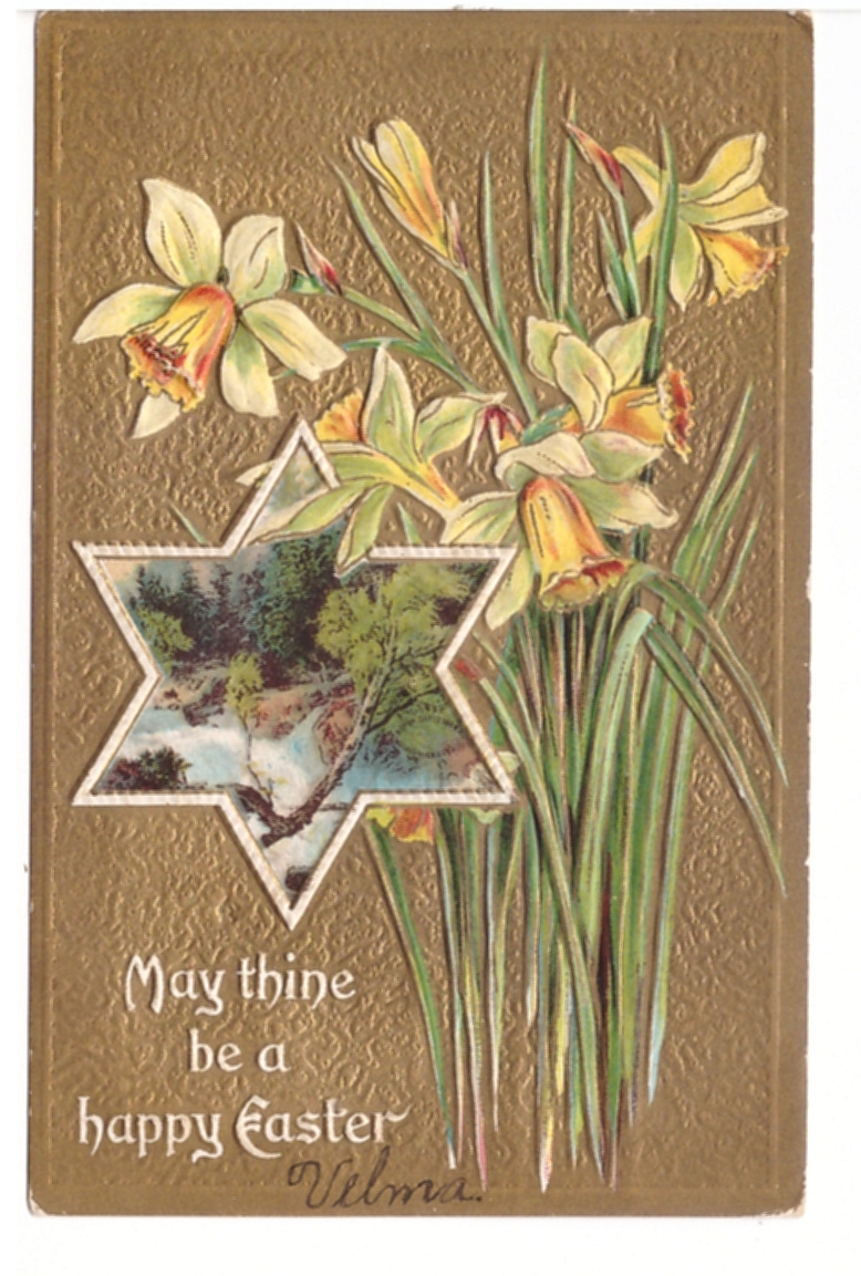 Antique Embossed Easter Postcard 1910 Divided Back Unused Easter Ephemera Easter Card 1910s Postcards Lilies Postcard Easter Lilies