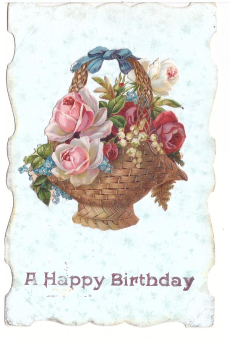 A Happy Birthday Die Cut Basket Of Flowers Vintage Embossed Postcard Ebay